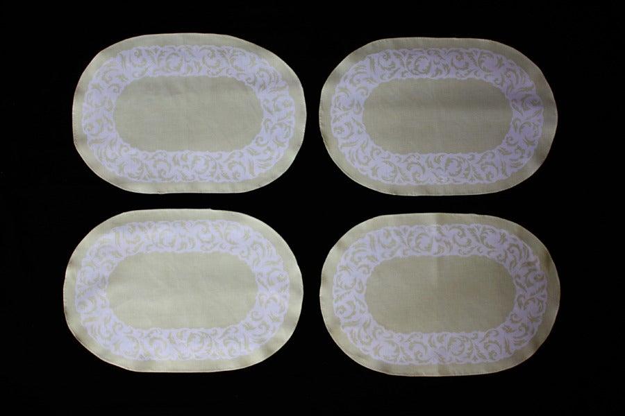 "Image of Placemats, Sage ""Floral Burnout"" Set of 4"