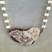 Image of Large Geode Pendant with Freshwater Pearl Chain