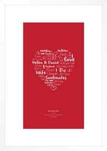 Image of Personalised wedding day print (red)