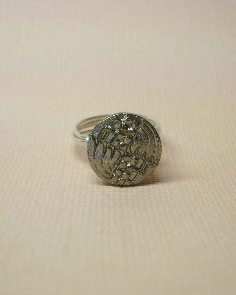 """Image of """"Angel"""" Black Glass Button Ring"""