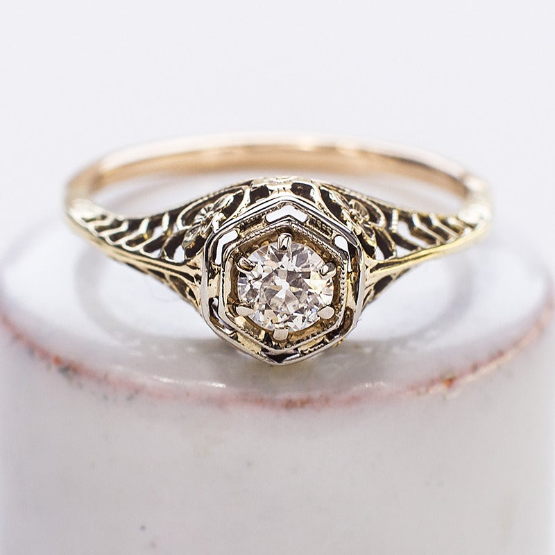 Image of Antique 1920's Diamond Solitaire Filagree Ring