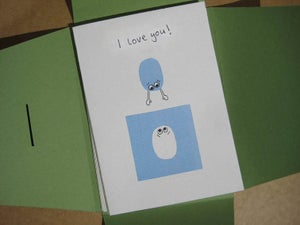 """Image of 3 pack: hand collaged """"I Love You"""" cards"""