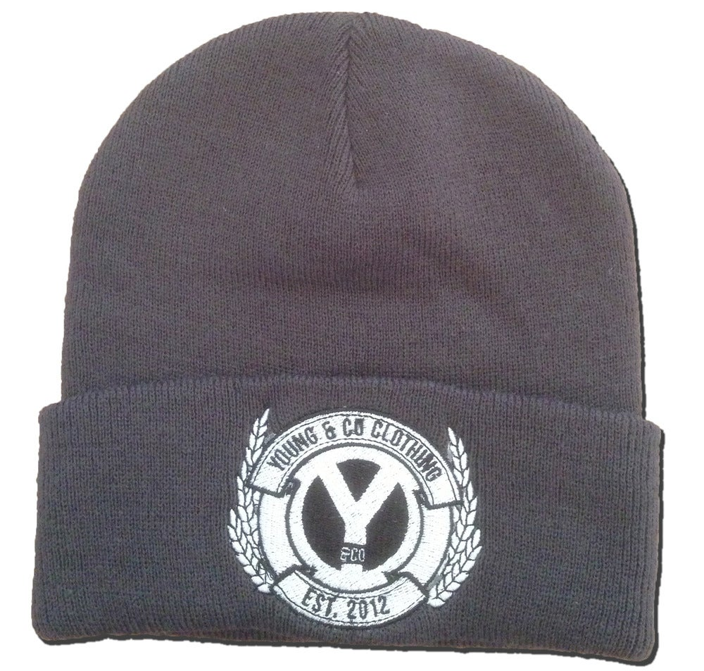 Image of Charcoal Grey Crest Embroidered Beanie