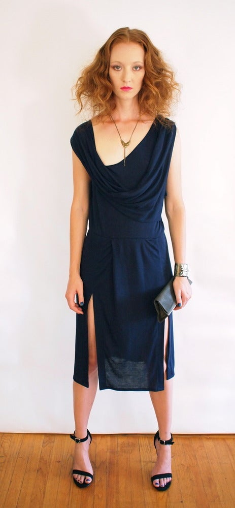 Image of Draped Neck Dress with Dual Slits