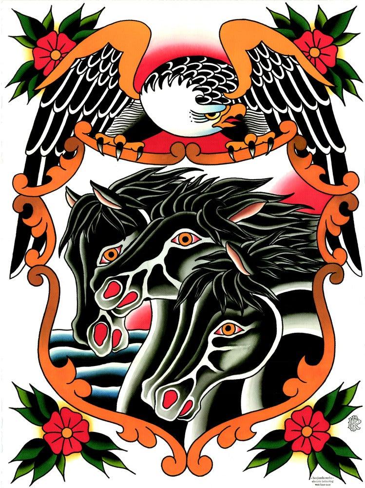 Pharaohs horses benrorketattoo for Horse tattoo traditional