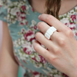 Image of Rectangle Diamond Bone China Ring