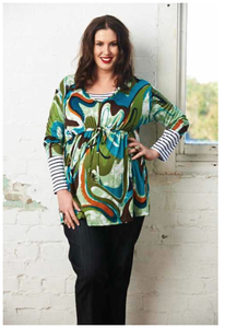 Image of Under bust tie front print top - Green