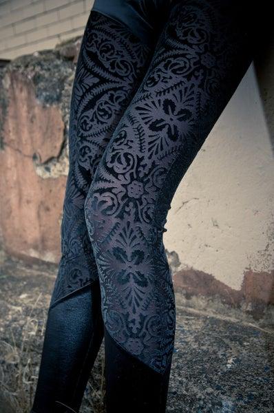 Image of Black Sheer Velvet burned out Velvet Brocade Leggings