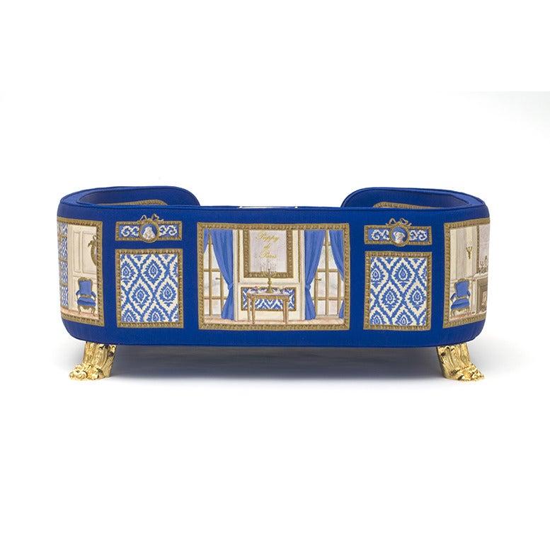 Canape baron haussan bleu puppy de paris for Nettoyage canape tissu non dehoussable
