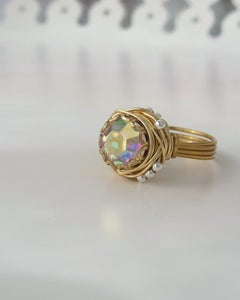 "Image of ""Brass Rainbow Nest"" vintage button ring"