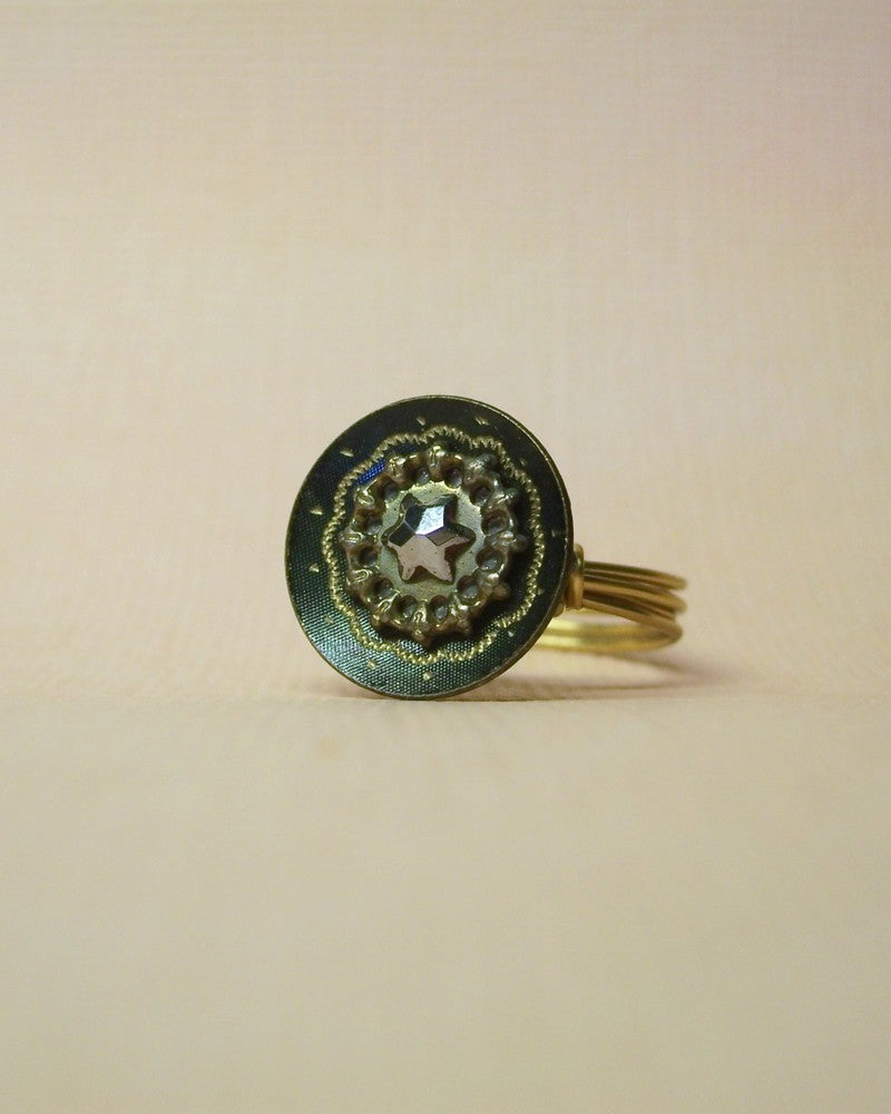 """Image of """"The Dark Star"""" antique button ring"""