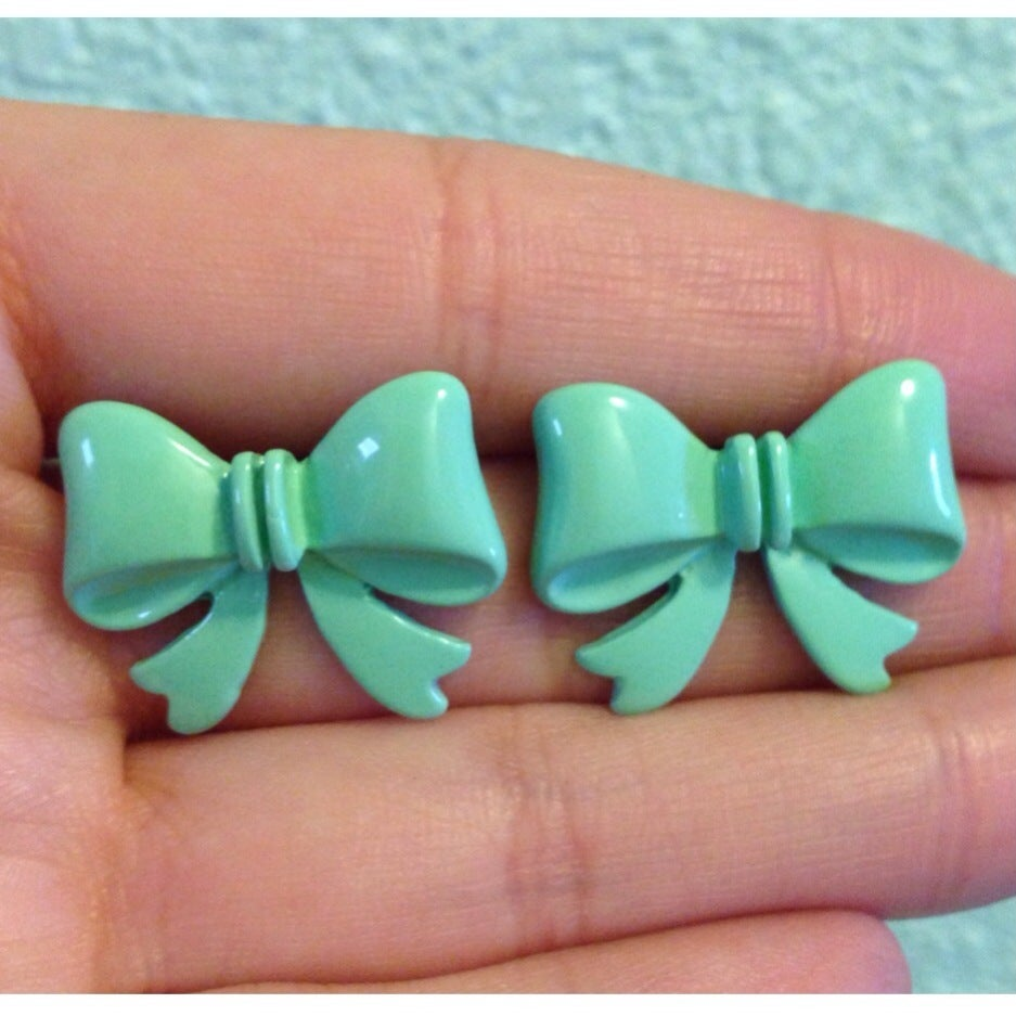 Image of Mint Bow Stud Earrings