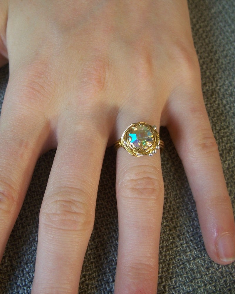 """Image of """"Brass Rainbow Nest"""" vintage button ring"""