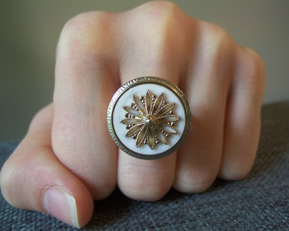 """Image of """"Blush & Brass"""" vintage-style button ring"""