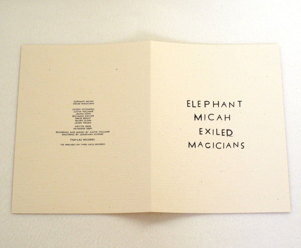 Image of ELEPHANT MICAH ~ EXILED MAGICIANS ~ lp (TIME-LAG 1XX1)