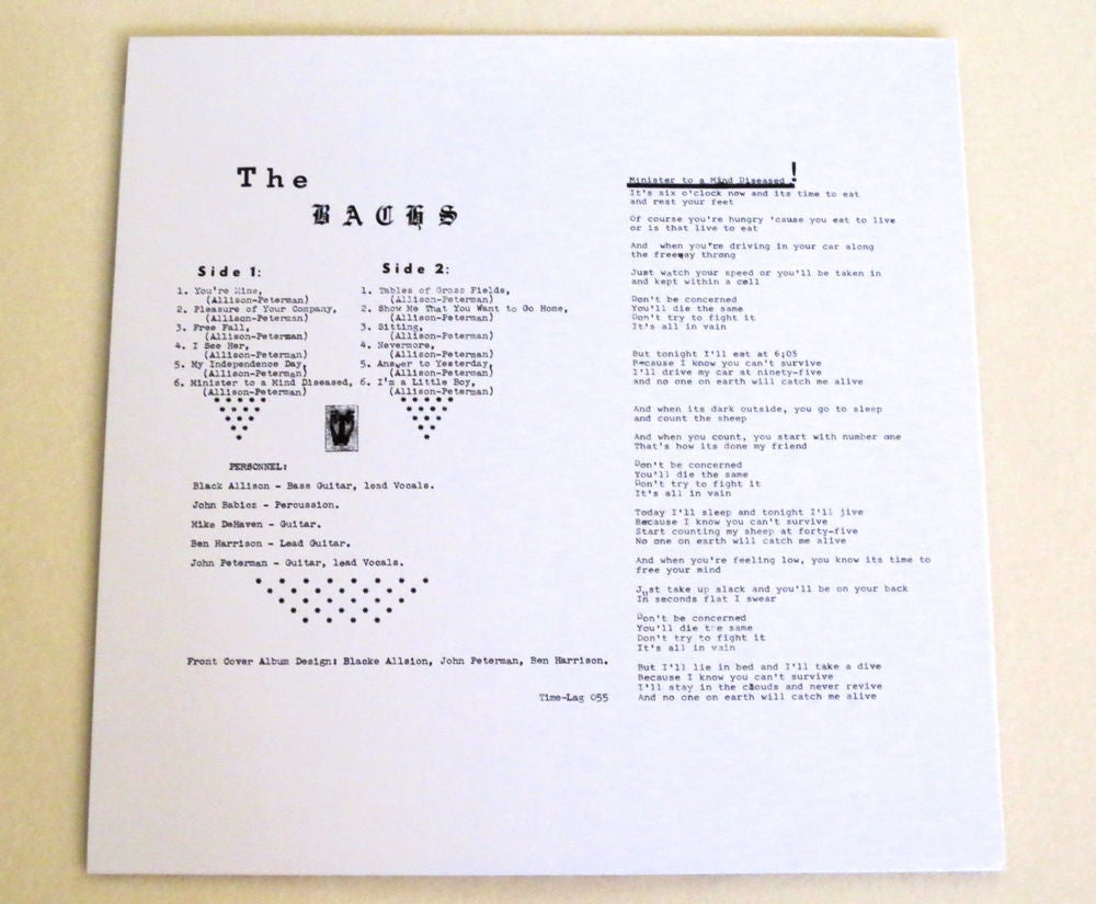 Image of THE BACHS ~ OUT OF THE BACHS ~ lp (TIME-LAG 055)