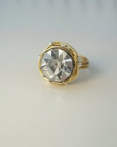 "Image of ""The Leading Role in brass"" vintage button ring"