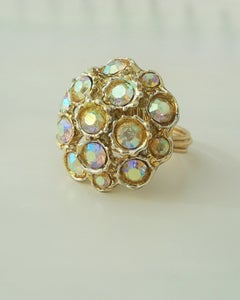 """Image of """"Rainbow Queen"""" vintage button ring"""