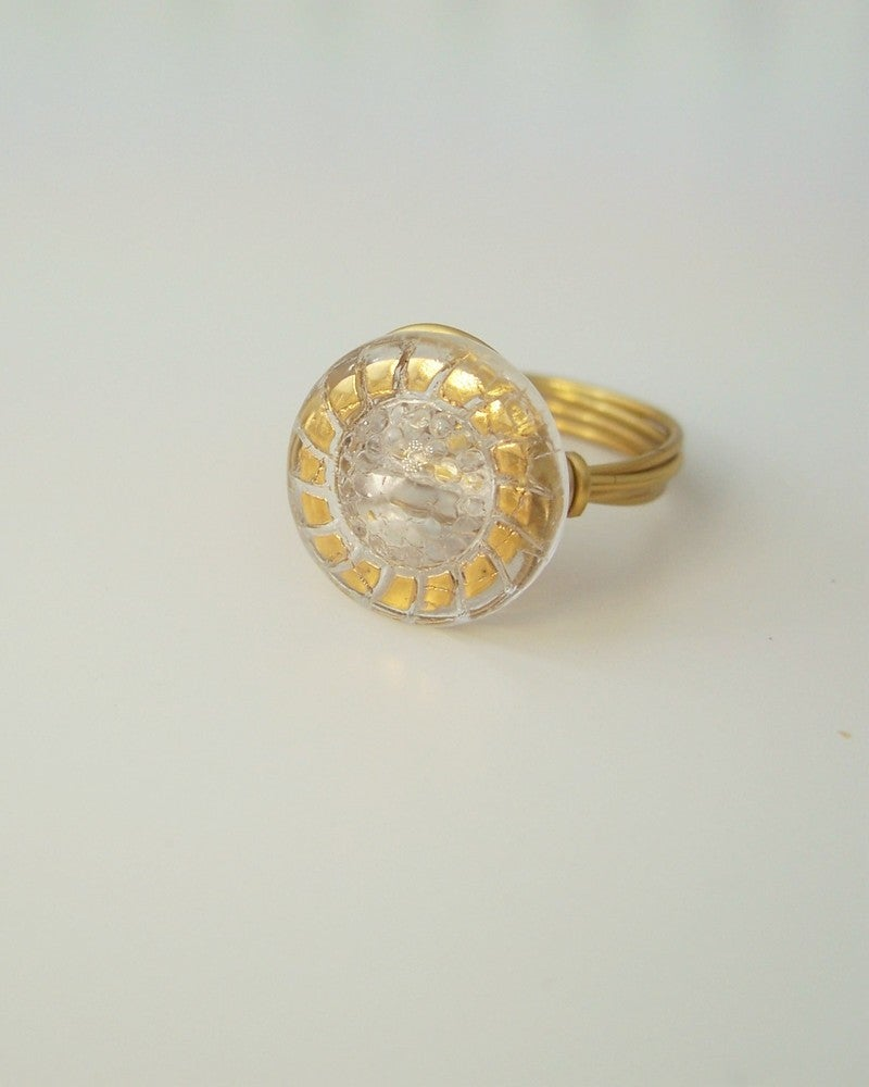 """Image of """"High School Sweetheart"""" vintage glass button ring"""