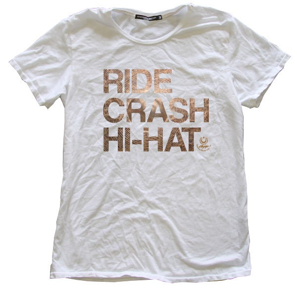 """Image of Agop """"Ride Crash Hi-Hat"""" Tee - White"""