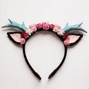 Image of Black Floral Deer Headband