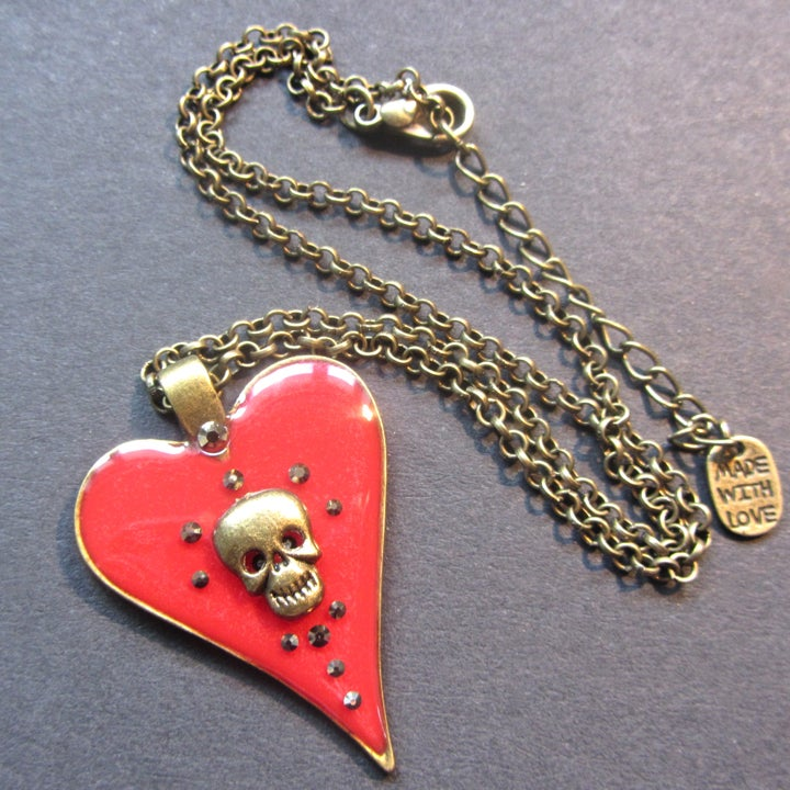 Image of Red Halo Skullie Heart Bronze Pendant