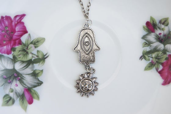 Image of Hamsa Sun Combo Necklace