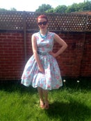 Image of 1950s garden party dress sky blue