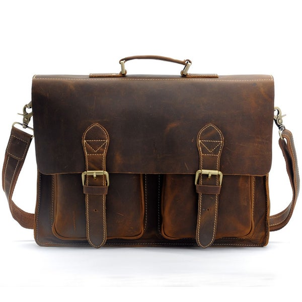 "Image of Men's Handmade Vintage Leather Briefcase / Messenger / 13"" 15"" MacBook 14"" 15"" Laptop Bag (n67-4)"