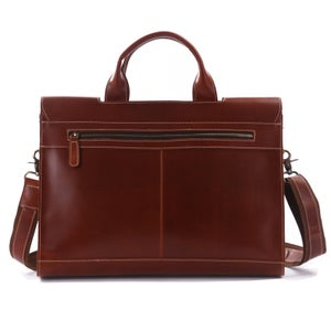 """Image of Vintage Handmade Superior Leather Briefcase / Messenger / 14"""" 15"""" Laptop 13"""" 15"""" MacBook Bag (n37)"""