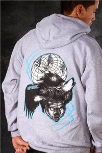 Image of Wolf/Raven / Hoodie - Grey