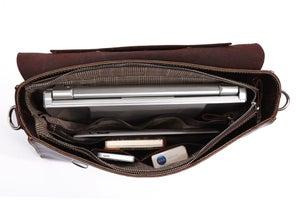 "Image of Handmade Genuine Leather Briefcase / Messenger / 14"" 15"" Laptop 13"" 15"" MacBook Bag (n1)"