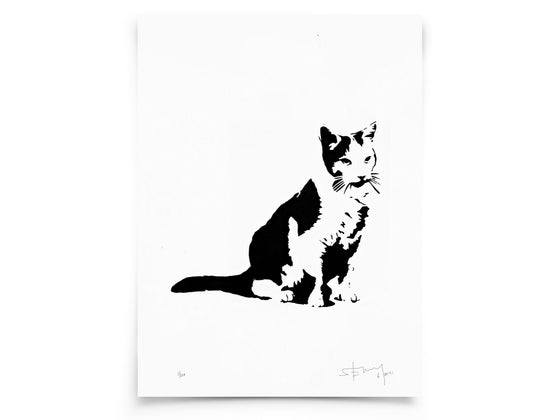 Image of Cat on paper - Screenprint