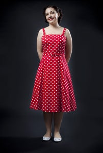 Image of 'Rocker Girl Jane' dress - Red with White Polka Dots