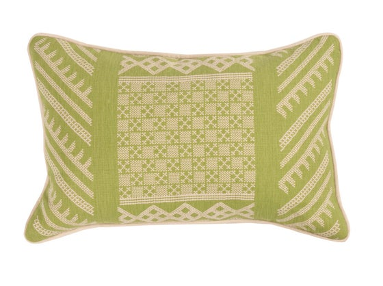 Image of Tangier Natural Margarita Green Pillow
