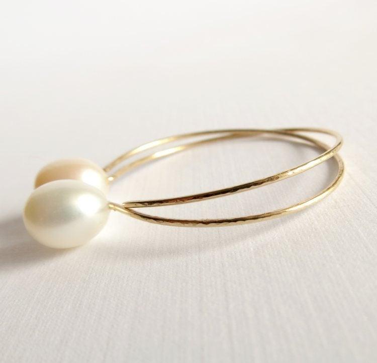 Image of White pearl hoop earrings - Momi Hoops
