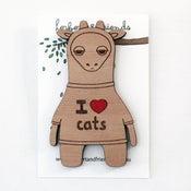Image of 'I Heart Cats' Giraffe Brooch