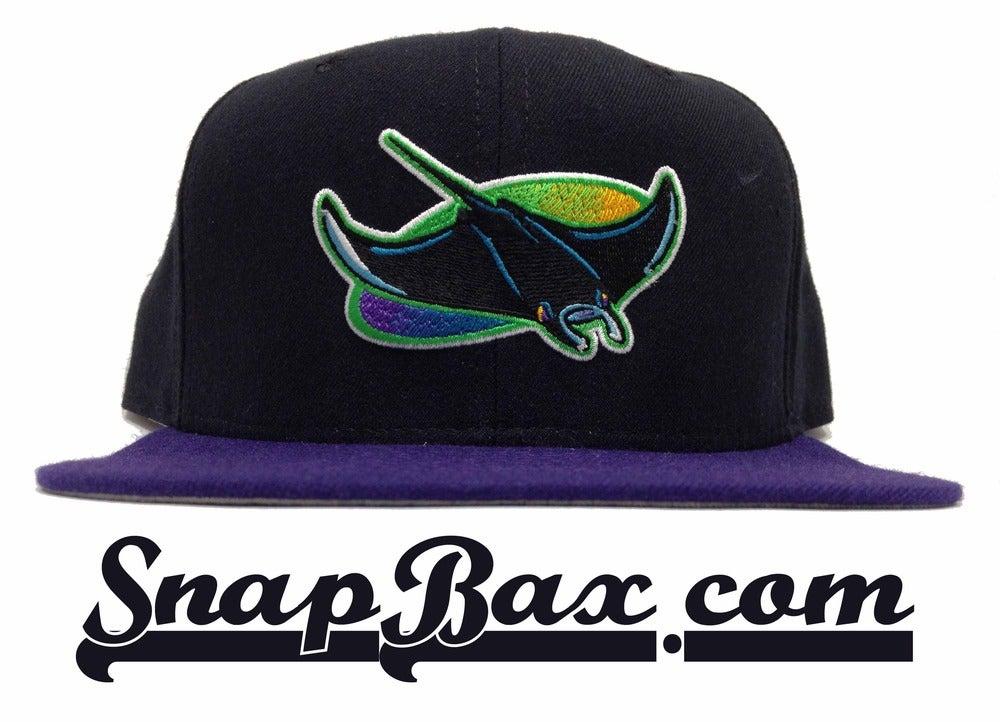 Image of Vintage Deadstock Tampa Bay Devil Rays Black Purple New Era Snapback Cap