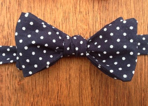 Image of Navy Blue Spotted Print Self-Tie Handmade Bowtie