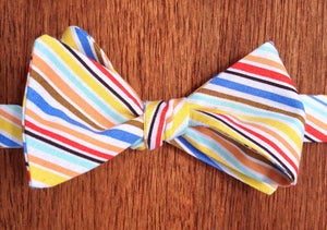 Image of Multi-Coloured Stripe Print Self-Tie Handmade Bowtie