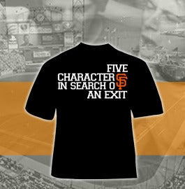 """Image of Five Characters In Search of an Exit """"SF Giants"""" shirt"""