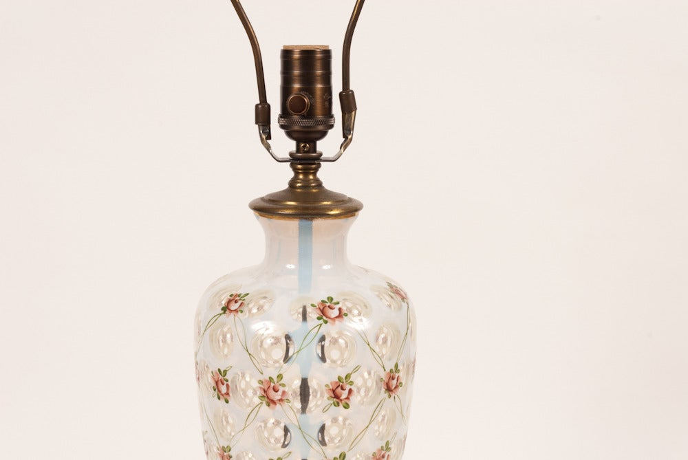 Image of Pair of French floral Lamp