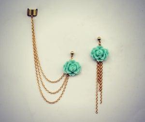 Image of aqua rose ear cuff earrings