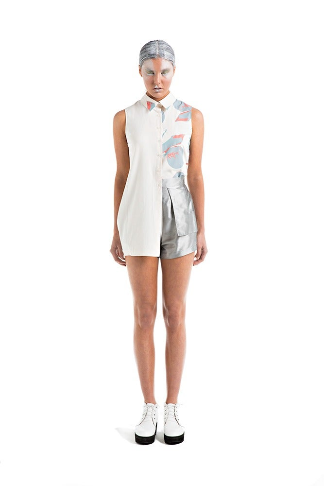 Image of Asymmetric Shirt - Cream Print