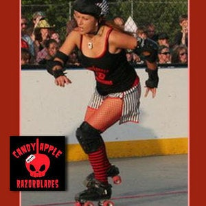 Image of Candy Apple Razor Blade Necklace; Roller Derby Team Exclusive