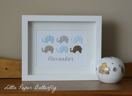 Image of Baby Elephants Paper Art for Boys
