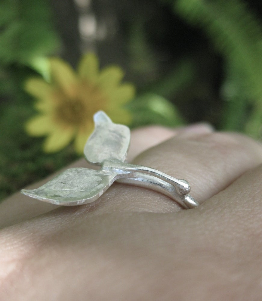Image of Leaf ring: hand forged sterling silver