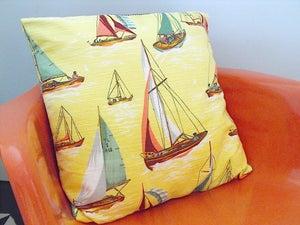 Image of Original Vintage Fabric 'Boats' Cushion