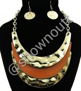 Image of Gold/orange matching necklace and earrings