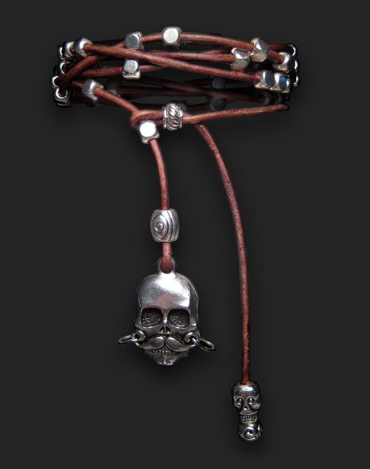 """Image of Leather 5 Wrap with """"Stache Skull Dangle"""" 